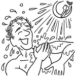 An illustration shows a man taking a shower.