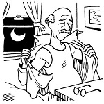 An illustration shows an elderly man taking off his shirt; background shows a moon outside the window.