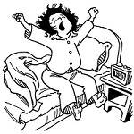 An illustration shows a woman with shabby hair stretching her arms and yawning in her bed; the bedside clock shows 7:00.
